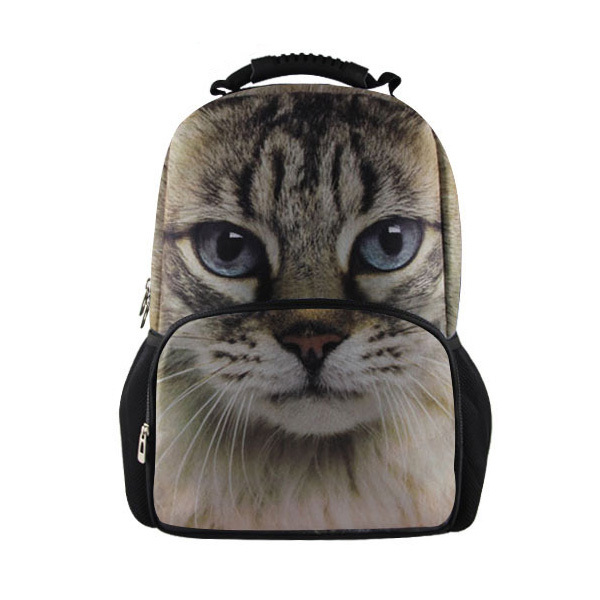цена FORUDESIGNS hot animal cat head printing backpack children school backpack kids zoo animal bag pack for boys,men travel backpack
