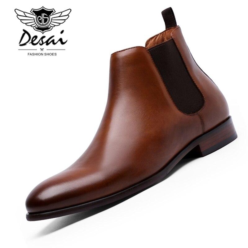 DESAI tout nouveau bottes Chelsea pour hommes en cuir de veau véritable semelle extérieure en cuir de veau