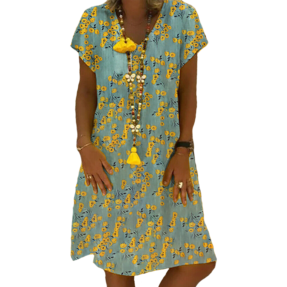 Womens Floral Printed Short Sleeve V-neck Dress Ladies Casual  Hem Baggy Kaftan Plus Size