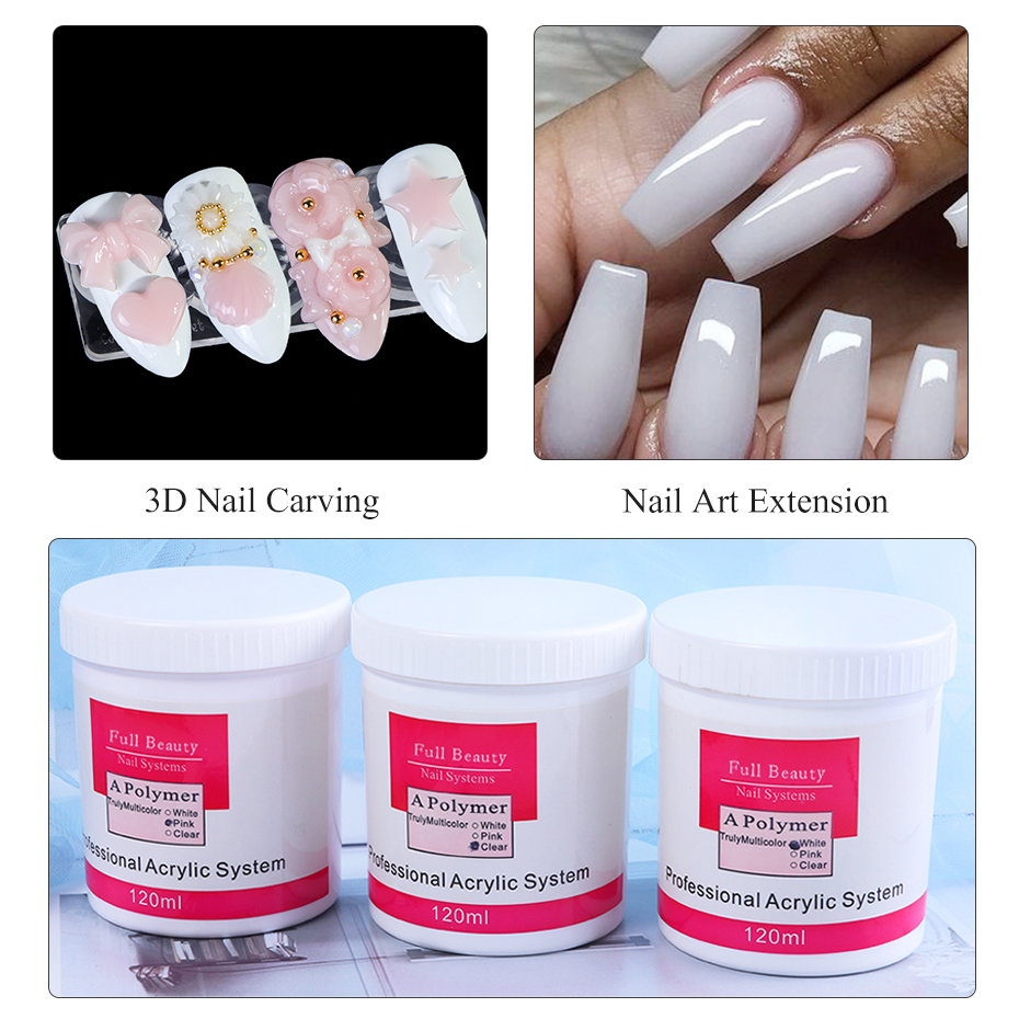 120ml Bottle Acrylic Powder Clear Pink White Color Nail Acrylic Powder Crystal Builder Polymer Dipping for Nail System CH789 (4)