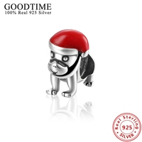 Christmas Hat Dog Pendant Fit European Pandora Bracelets Sterling Silver 925 Jewelry Red Enamel Charms For