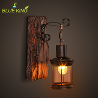 Creative Retro Industrial Wall Lamp Old Boat Wood Nostalgia Iron lampshade Wall Light For Bar Cafe Store LED wooden wall sconce