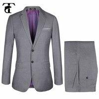 Slim Fit Grey Men's Suit Set Wedding Mens Solid suit euro big size 58 Suit Dress Men Formal Business Suit blazer with Pants