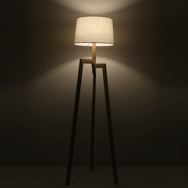 Contemporary Wooden Table Floor Lamp Set