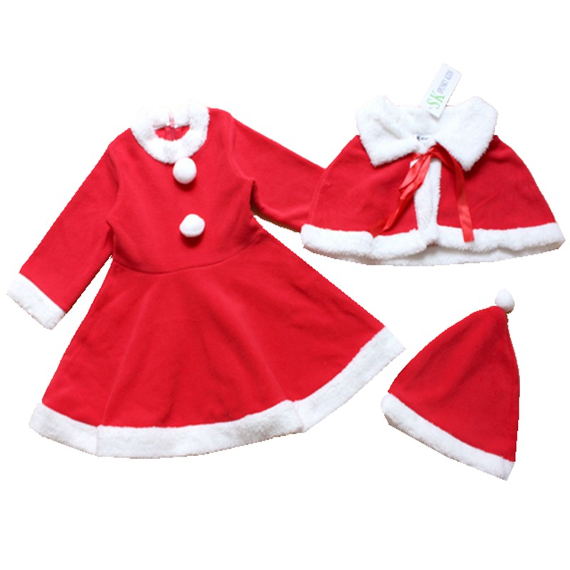 Red Christmas Costume Baby Dress Hat Cloak Girls 3 Piece Set Kids Suit Autumn Winter Infant Clothes Bebe Clothing Toddler Wear newborn baby photography props infant knit crochet costume peacock photo prop costume headband hat clothes set baby shower gift