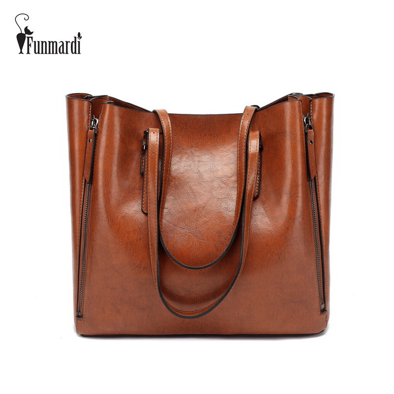 FUNMARDI Brand Design Waxy Leather Handbag Luxury High Quality Women Bags High capacity Totes Bag Zipper Leather Bag WLHB1723B