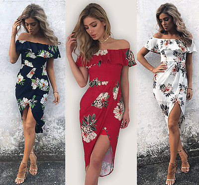 Women Ruffles Split Floral Print Short Sleeve Boho Dress Ladies Evening Party Long Maxi Dress