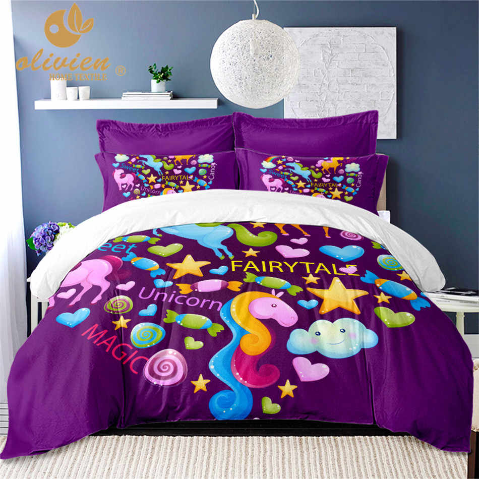 Unicorn Bedding Set for Kids Purple Duvet Cover Set Twin Full Queen King Size Bedding Set Colorful Heart Print Bedding Girls