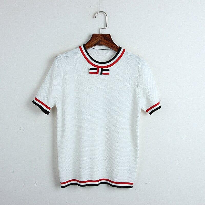2019 Summer Runway Casual t shirt Harajuku Women Knitted Sequins Black White O-neck Bow Tee tShirt Femme Short Sleeves Top Tees