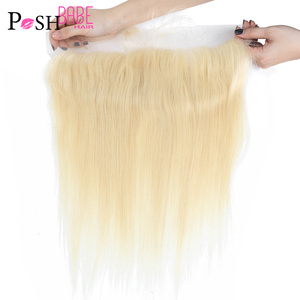 POSH BABE 613 Honey Blonde 13x4 Ear to Ear Lace Frontal Closure Middle Part Brazilian Straight Human Hair Closure Free Shipping(China)