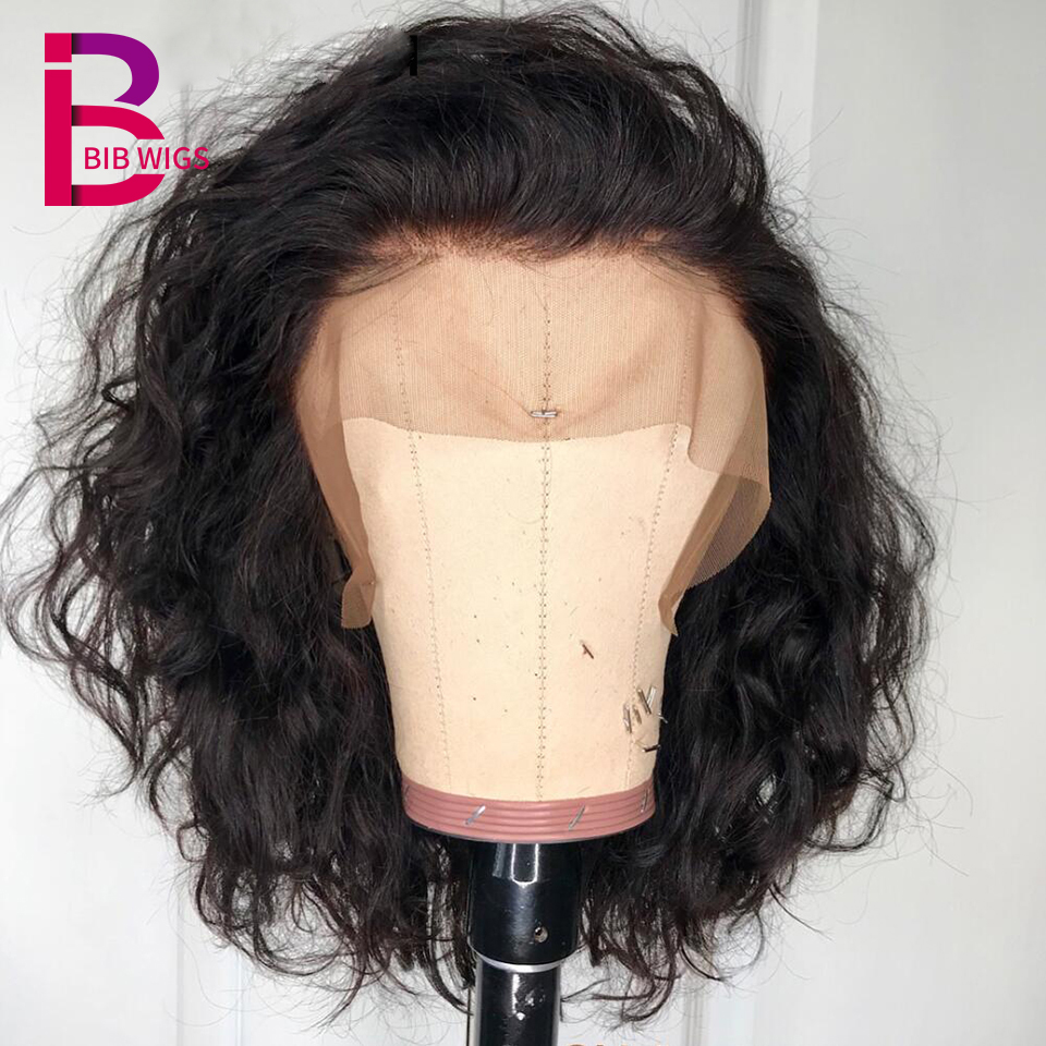 Natural Wave Lace Wig Remy Brazilian Lace Front Human Hair Wigs For Women Black Color Bleached