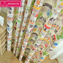 MISSION Eco-friendly Cotton and Linen Fabric Cartoon Castle Curtain Drapes for Baby Kids Children Princess Bedroom Living Room