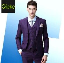 High Quality Summer Wedding Groom Suits Jackets Blazers Vests Pants 3pcs Business Casual Purple Retro 3XL