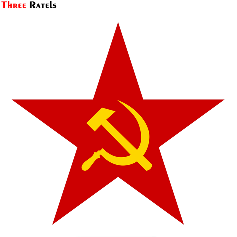 Three Ratels TZ-1282 17*17.9cm 1-4 Pieces Star With A Sickle And A Hammer Car Sticker Funny Car Stickers Decals