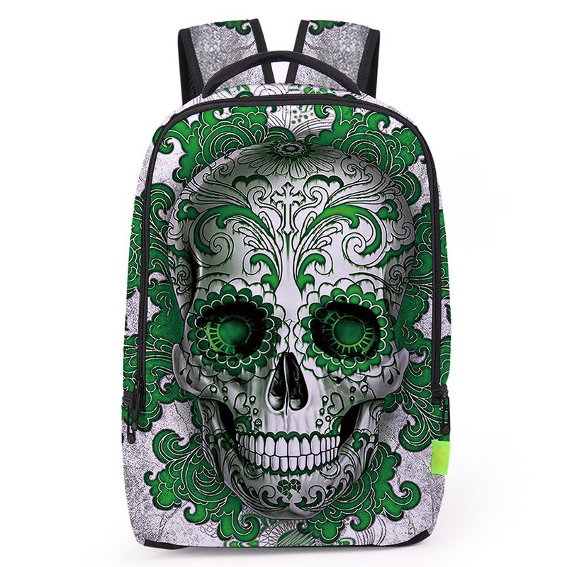 Zhierna Men's Backpack Bag Horror Pack Skull-patterned Double-shouldered Rose Novelty Skull-shaped Apply To School Fashion