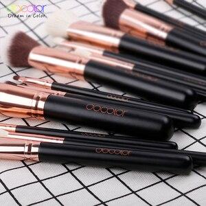 Image 4 - Docolor 15 sztuk pędzle do makijażu zestaw fundacja Powder Eyeshadow pędzel do makijażu włosy syntetyczne pędzel z włosia kozy zestaw narzędzia do makijazu