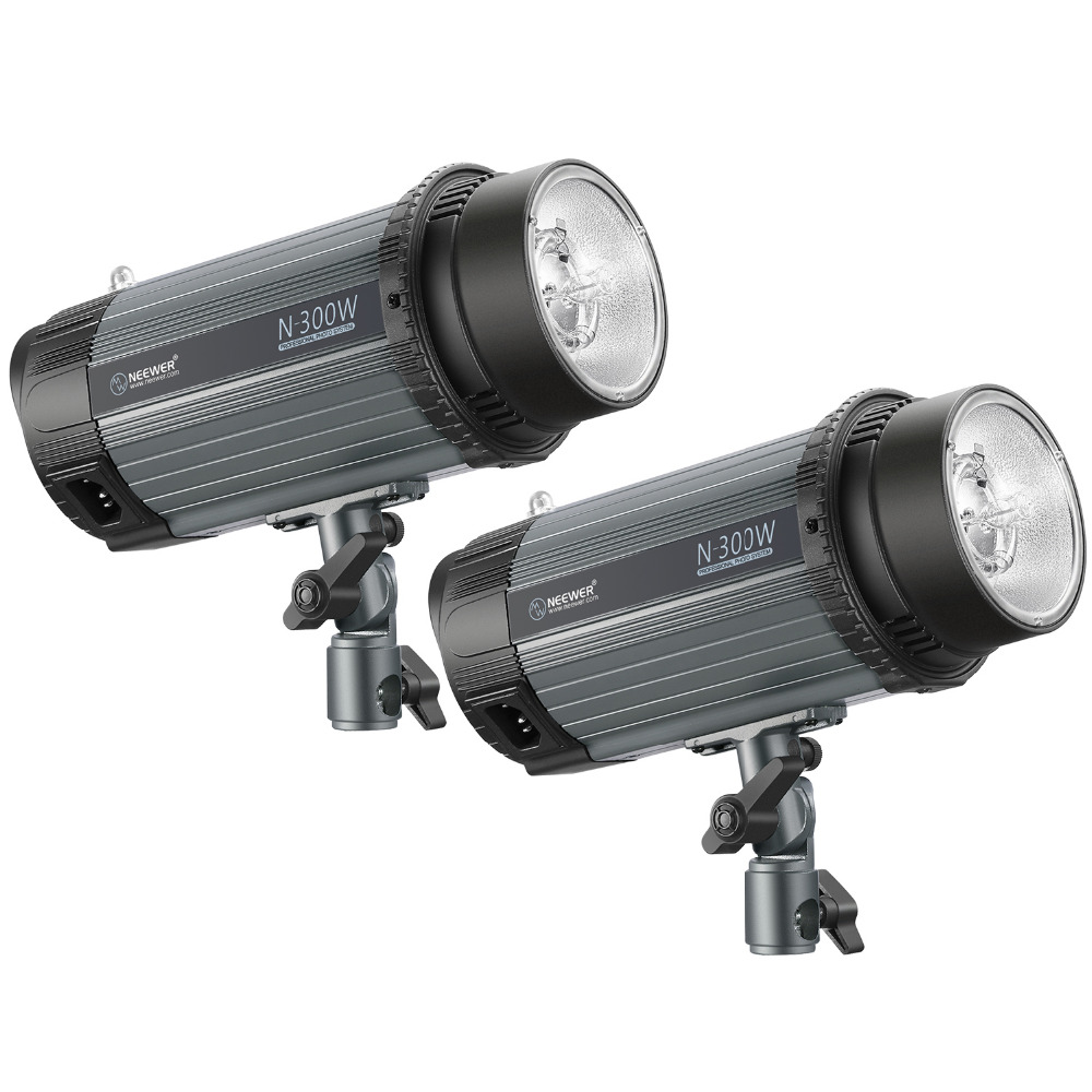 Neewer 600 w (2-Pack 300 w) 5600 k Photo Studio Strobe Flash Light Monolight avec Modélisation Lampe, Aluminium Alliage Speedlite