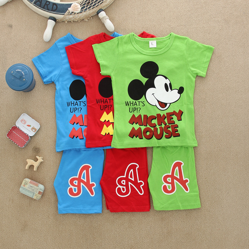 Fashion cartoon cotton 2 piece short sleeve blue red gray baby boy summer clothes set