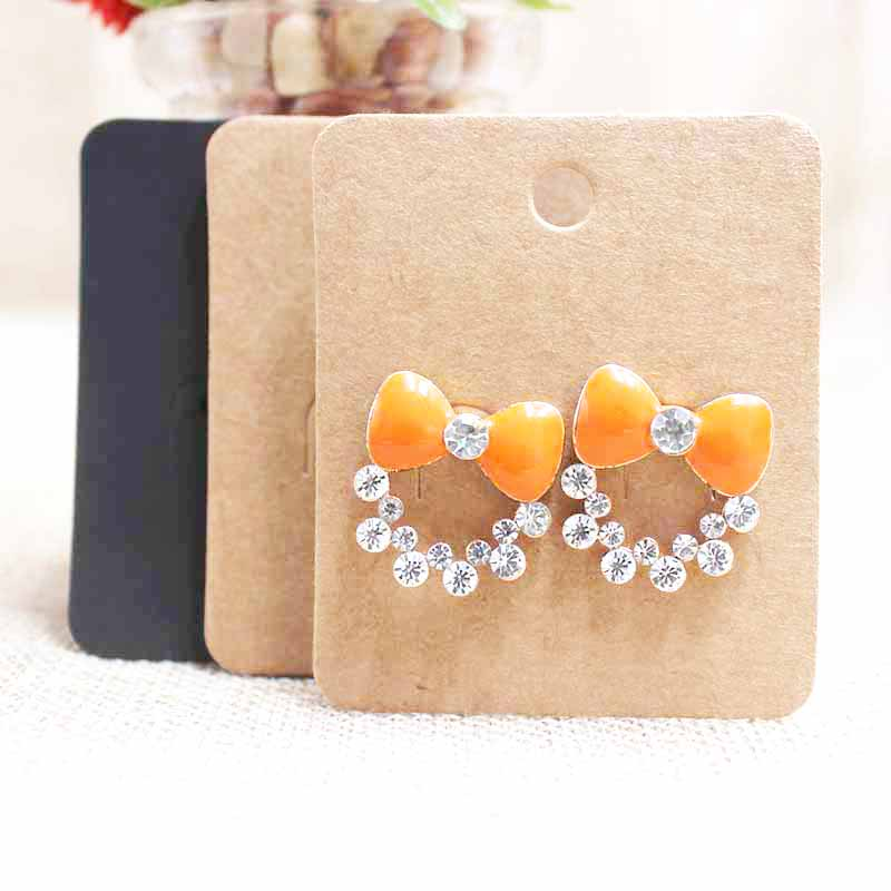 Zerong Hanger Earring Tag Card ,6*5cm Kraft/black Stud Earring Package & Display Hang Tag Card 100pcs Custom Logo Cost Extra