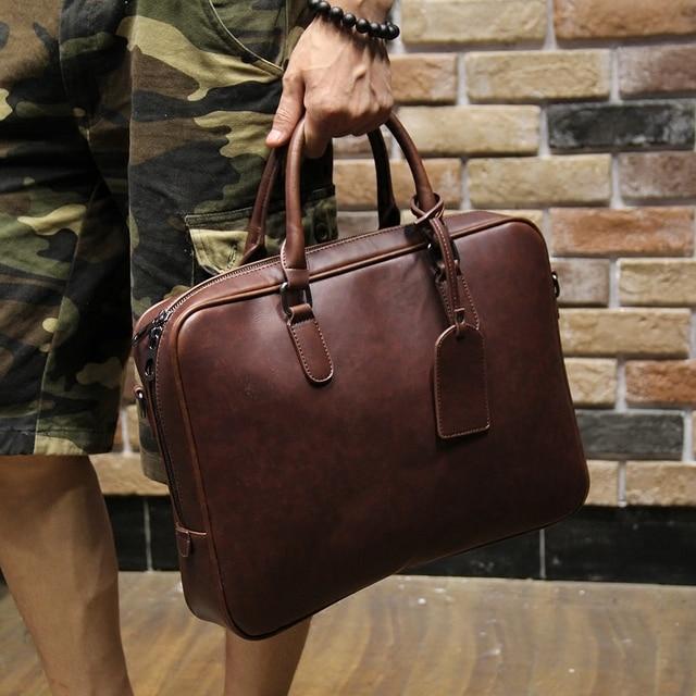81367b4f086a Men s crazy horse pu leather briefcases male fashion brown business  shoulder bags large handbag messenger bag work file bag
