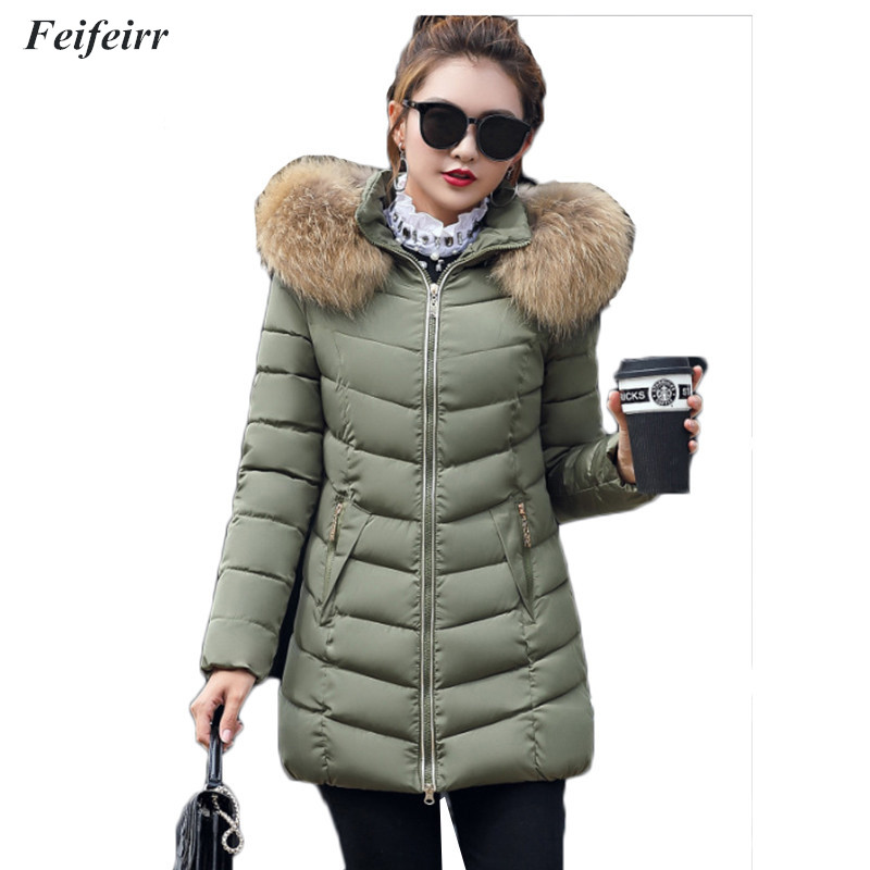 Winter new 2018 Korean version Warm Plus Cotton Thick Hooded Long Jacket Coat Female Large size  down cotton Outwear