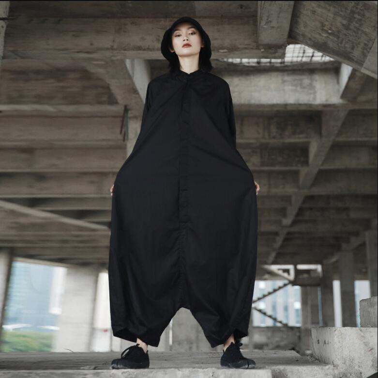 Spring Fashion new personality loose big Sizes single color Color Half Sleeves O-neck overalls For women