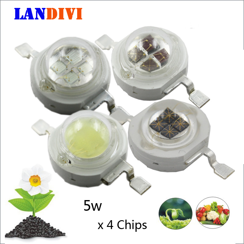 5w high power led 4chips emitting diode Deep red 660nm violet blue 440nm green white for LED plant growing light 10w 12w ultra violet uv 365nm 380nm 395nm high power led emitting diode on 20mm cooper star pcb