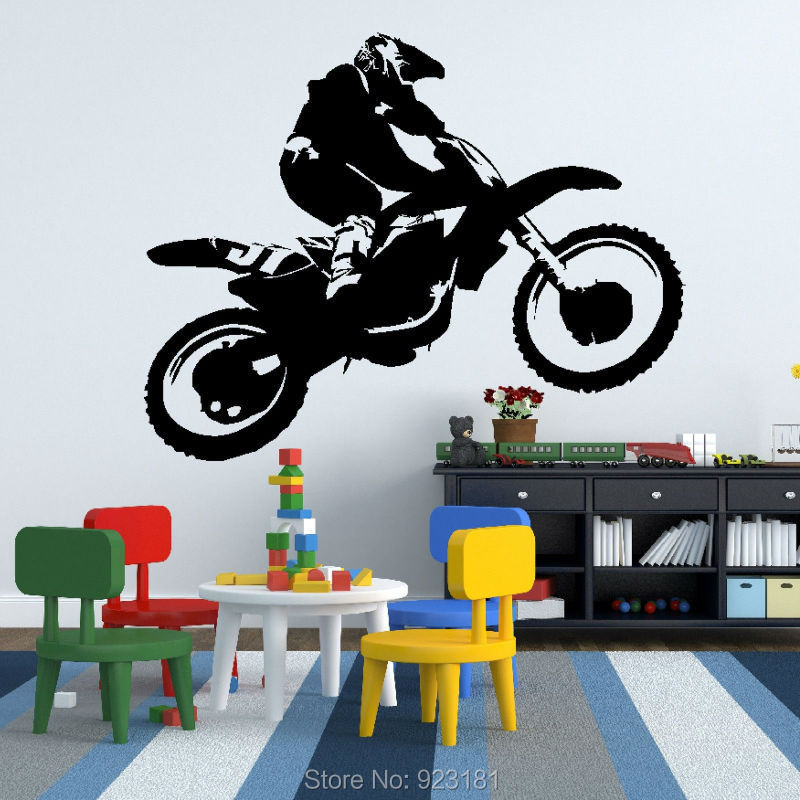 Motorbike Scrambler Dirt Bike Silhouette Wall Art Stickers Decals Home DIY  Decoration Wall Mural Removable Bedroom. Dirt Bike Bedroom Decor