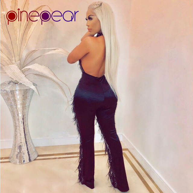 51db86ebeb PinePear 2019 HIGH FASHION Feather Tassel Sequin Mesh Jumpsuit Women  Sleeveless Backless Halter Sexy Club Rompers Drop Shipping