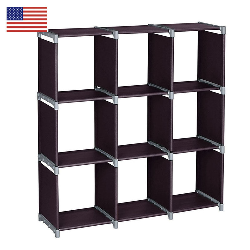 3-layer 9-grid Bookshelf Non-woven fabric organizer storage cabinet Assembly wall shelf bookcase home living room Furniture simple 5 shelf bookshelf non woven steel pipe structure free assembly bookcase living room furniture dust storage shelves