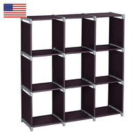 3 layer 9 grid Bookshelf Non woven fabric organizer storage cabinet Assembly wall shelf bookcase home living room Furniture