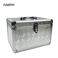 Professional Aluminium alloy Make up Box Butterfly pattern Makeup Case Beauty Case Cosmetic Bag Multi Tiers Lockable Jewelry Box