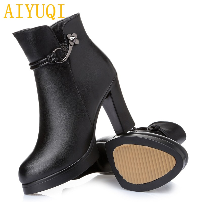 AIYUQI ladies ankle boots 2019 new genuine leather women winter shoes boots,fashion warmth high heel wool boots,Martin Boots