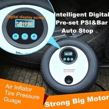HAIFE Digital Compressor Auto Stop Pump Portable 12V 260PSI Electric Car Tyre Digital Air Compressor with 3 Pneumatic Nozzle