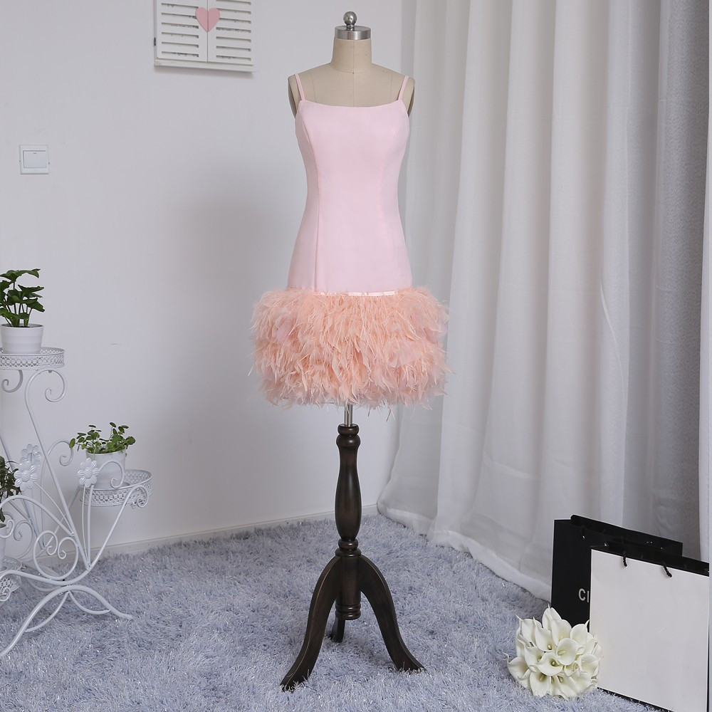 HVVLF 2018 Formal Celebrity Dresses Sheath Spaghetti Straps Knee Length Pink Satin Feather Famous Red Carpet Dresses
