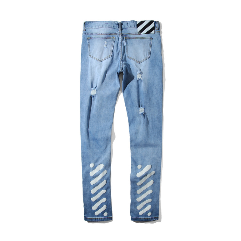 17ss  OFF WHITE BLUE  WHITE BELT  BUTTON AND ZIP CLOSURE FIVE POCKETS SPRAYED DIAGONALS JEANS