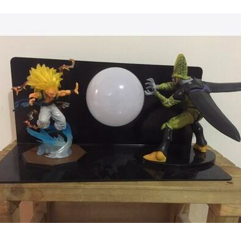 5 Dragon Ball Z Saiyan Gotenks VS ANTAGONIST Cell With LED Light Table lamp PVC Action Figure Collectible Model Toy D431 anime dragon ball figuarts zero super saiyan 3 gotenks pvc action figure collectible model toy 16cm kt1904