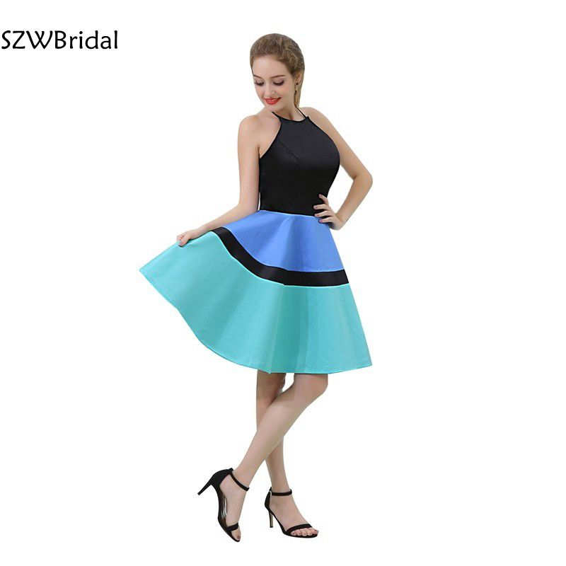 New Arrival Satin High Neck Knee length   Cocktail     dress   2019 jurken   dress   for graduation vestidos de coctel   Cocktail     dresses