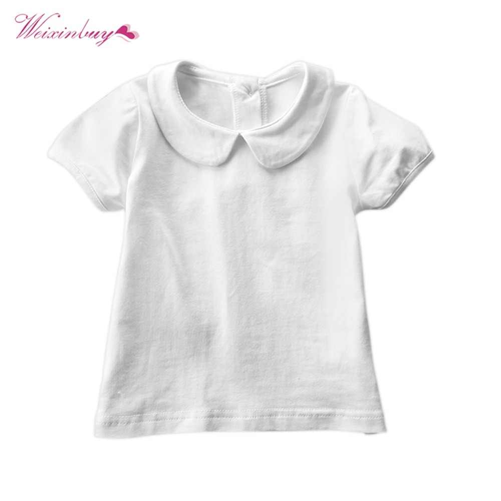 a86ad017eba0 WEIXINBUY Summer Newborn Baby Pure Color Girls Doll Collar Short Sleeve T- shirt Casual Tops