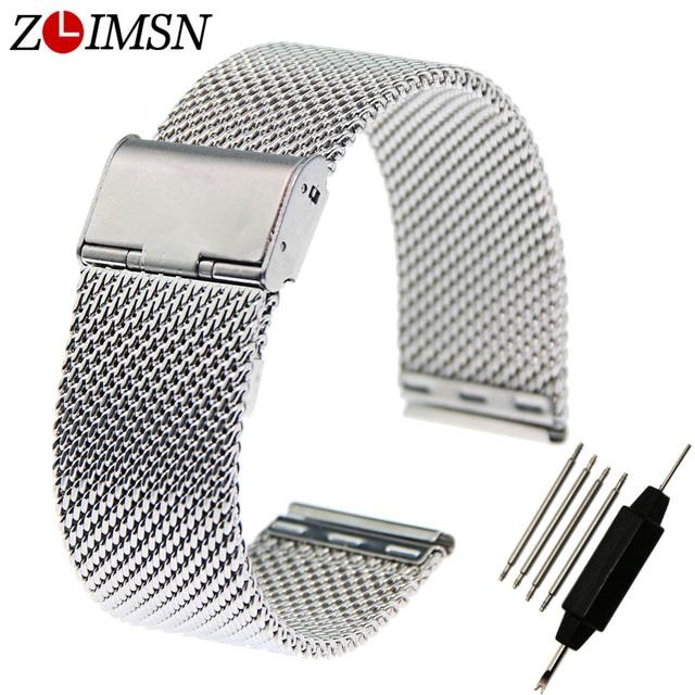 Zlimsn malla correas de reloj para hombre venda de reloj de espesor correa relogio de pulsera con hebilla de acero inoxidable 18mm 20mm 22mm 24mm s20