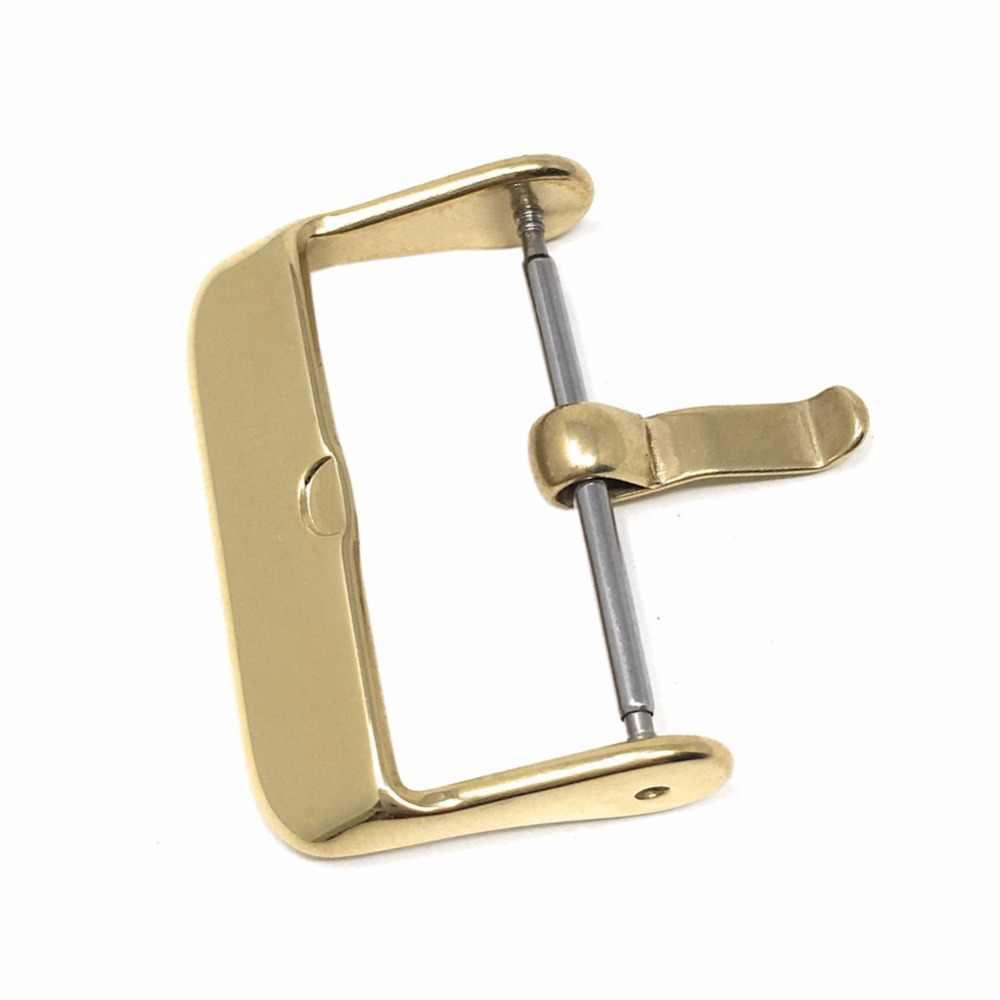 16mm 18mm 20mm 22mm 24mm pulido Acero inoxidable correa de reloj hebilla de repuesto con barra de resorte oro rosa Negro Plata