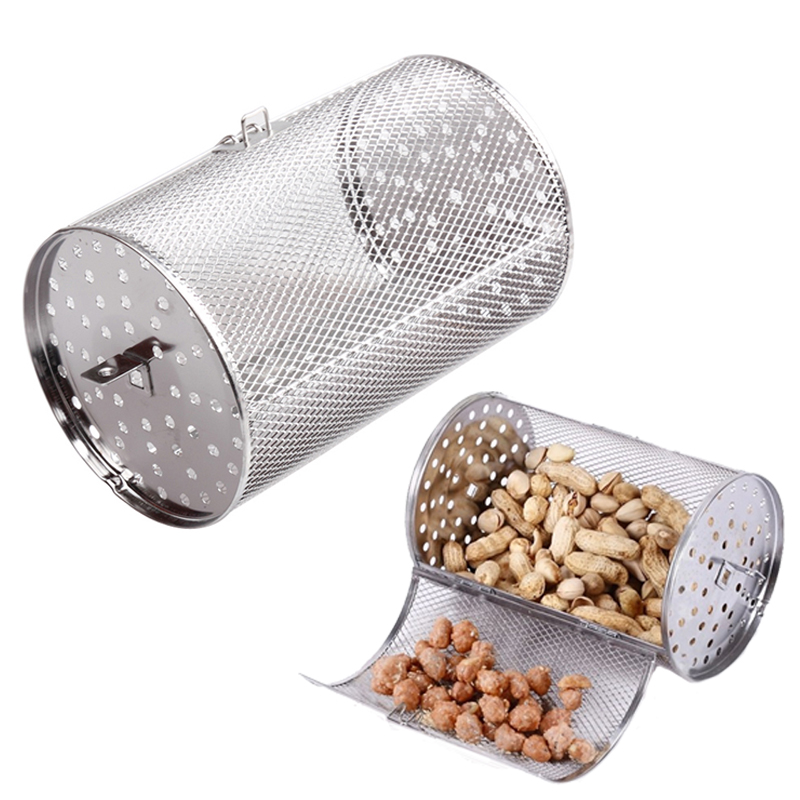 Small Size Stainless Steel Oven Parts <font><b>Grilled</b></font> Cage Beans Peanut Coffee Roaster Drum For BBQ <font><b>Rotisserie</b></font> Ovenware Cooking Tool