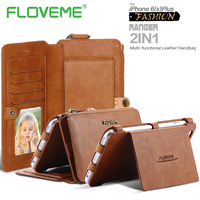 FLOVEME Luxury Phone Case For IPhone 6 6S 7 Plus Reteo Leather PU Card Slot Wallet