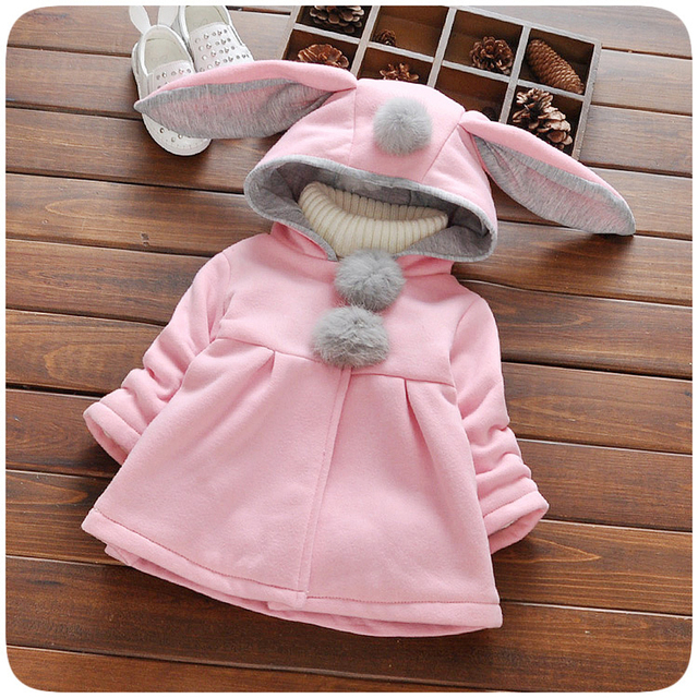 f68c664df9a1 Baby Girl Winter Clothes Toddler Coat Hooded Jacket Cartoon Rabbit ...