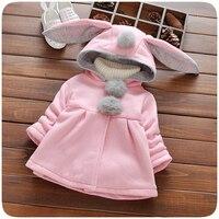 Warm Autumn Baby Coat Baby Girls Hooded Jacket Long Sleeve Children Outerwear Kids Cartoon Rabbit Ears