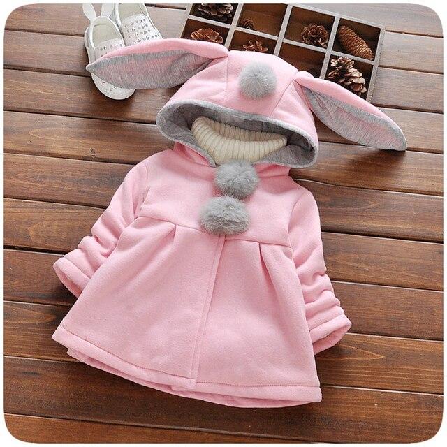 9bb927e5a Ropa de Invierno Niña Bebé Abrigo Chaqueta Con Capucha de Orejas de Conejo  de Dibujos Animados