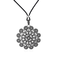 1pcs Antique Silver Large Largenlook Craft Filigree Flower Charms Pendant Faux Suede Leather Long Rope Chain Necklace Jewelry