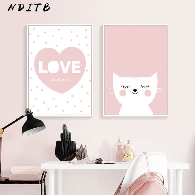 Cartoon Cat Canvas Poster Love Quote Wall Art Nursery Print Painting