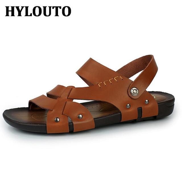 11a38acb40de3e Soft Leather Solid Color Men Sandals Breathable Male Zapatos Summer Slippers  Daily Shoes Outdoor Walking shoes