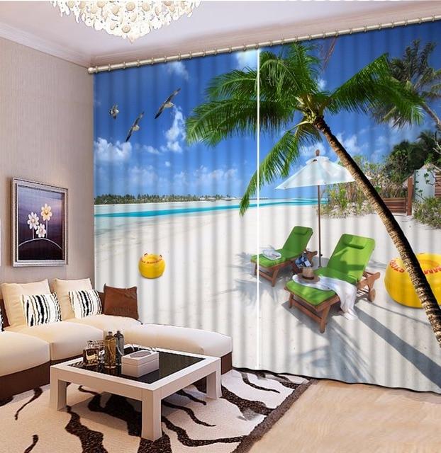 Modern Printing Curtains Beach Scenery 3D Window Treatments Palm Tree Children Custom Any Size